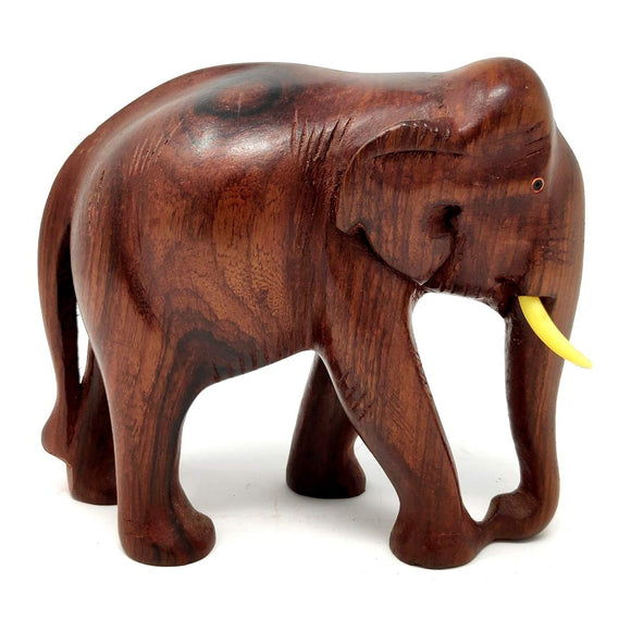 Sahya Dale Wooden Elephant Statue- Hand Made Rose Wood 22 x 15cm