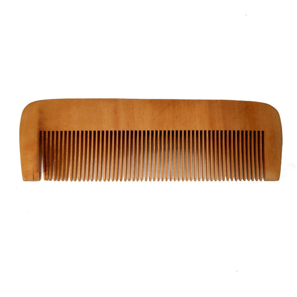 Sahya Dale Neem Wood Comb for Men and Women - Anti Dandruff- Light Brown - Made from Neem Wood- Flat