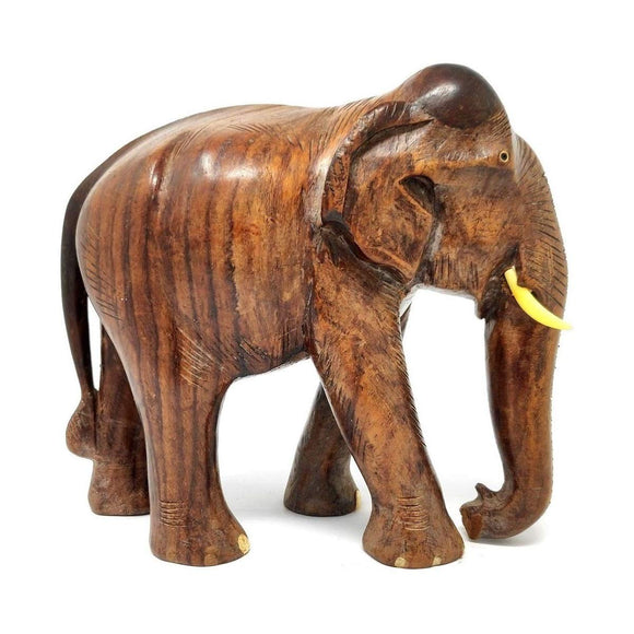 Sahya Dale Wooden Elephant Statue- Hand Made - Made from Rose Wood 27 x 20cm