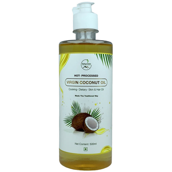 Sahya Dale Hot Processed Virgin Coconut Oil 500ml- (Urukku Velichenna)- 100% Natural and Pure for Hair, Skin & Cooking