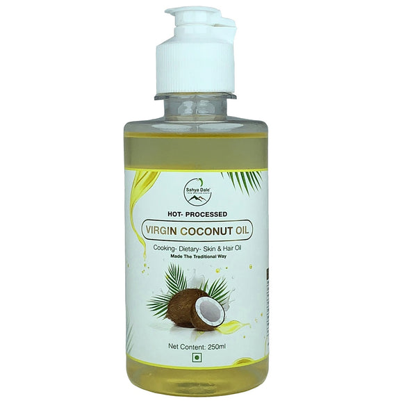 Sahya Dale Hot Processed Virgin Coconut Oil 250ml- (Urukku Velichenna)- 100% Natural and Pure for Hair, Skin & Cooking