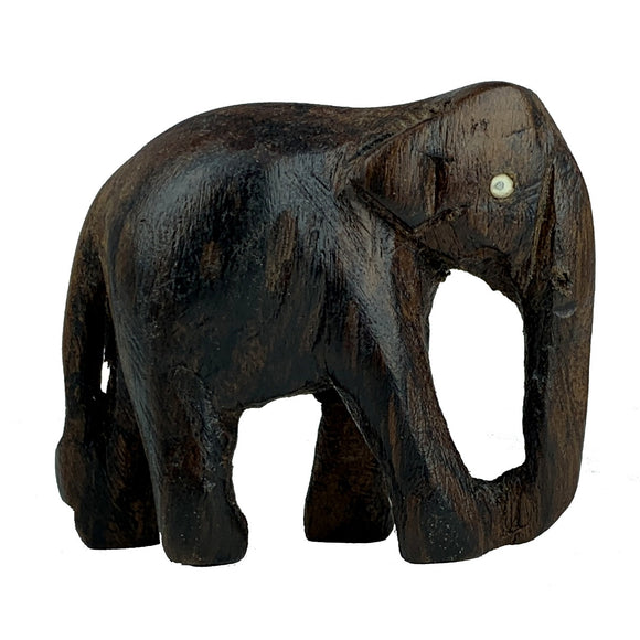 Sahya Dale Wooden Elephant Statue Small- Hand Made - 6cm x 5cm