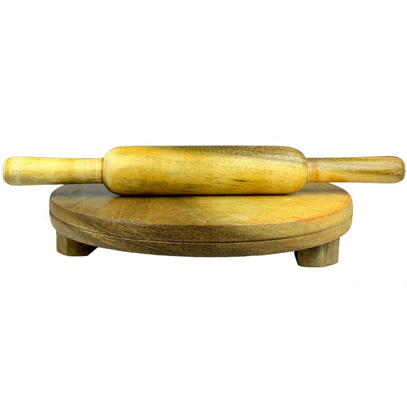 Sahya Dale Wooden Chapati Board and Roller Set- Wooden Rolling Pin & Round Board- Big Size 28cm Board and 35cm Roller