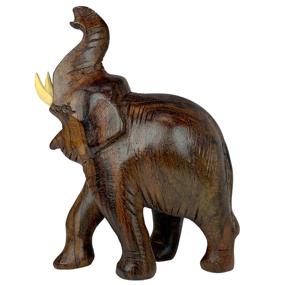 Sahya Dale Wooden Elephant Statue Trunk Up- Hand Made- Rose Wood 9 x 13cm