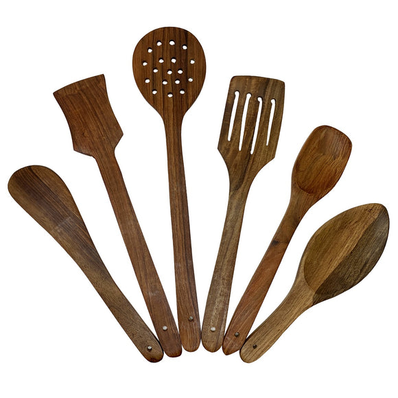 Sahya Dale Wooden Non-Stick Spatula Ladle and Spoon Set - Cooking & Serving Kitchen Utensils Large (Set of 6)