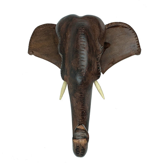 Sahya Dale Wooden Elephant Head Showpiece- Hand Made Rosewood 18cm x 21cm