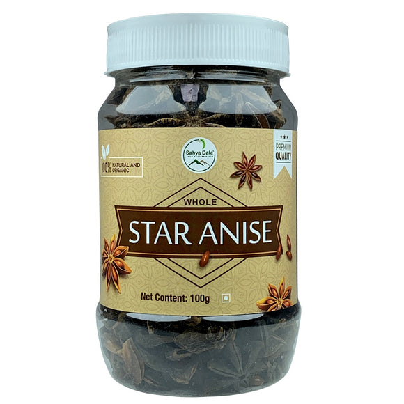 Sahya Dale Whole Star Anise 100g- First Grade Thakkolam- Product of The Western Ghats