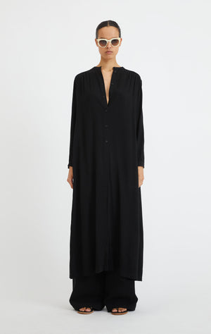 ART MAXI SHIRT DRESS BLACK BY RODEBJER