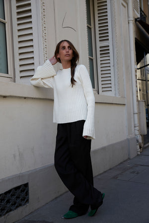 HAIRAN KNITTED TOP BY LOULOU STUDIO IN IVORY