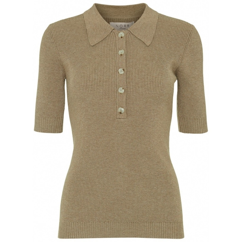 POLO COLLAR KNITTED TOP IN DESERT BEIGE