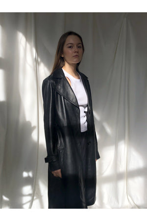 BLACK LEATHER COAT - BEYOND STUDIOS