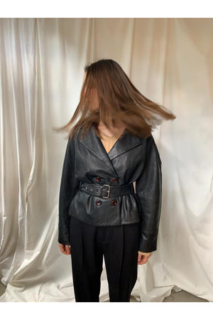 BELTED SHORT LEATHER BLAZER IN BLACK - BEYOND STUDIOS