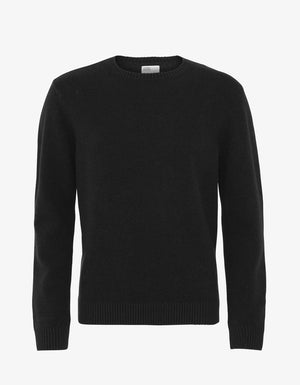 UNISEX MERINO WOOL CREW IN DEEP BLACK