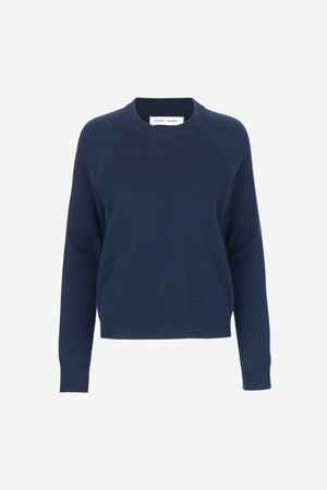 PURE CASHMERE CREW NECK IN DARK BLUE