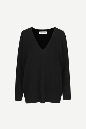 PURE CASHMERE DEEP V NECK KNIT IN BLACK