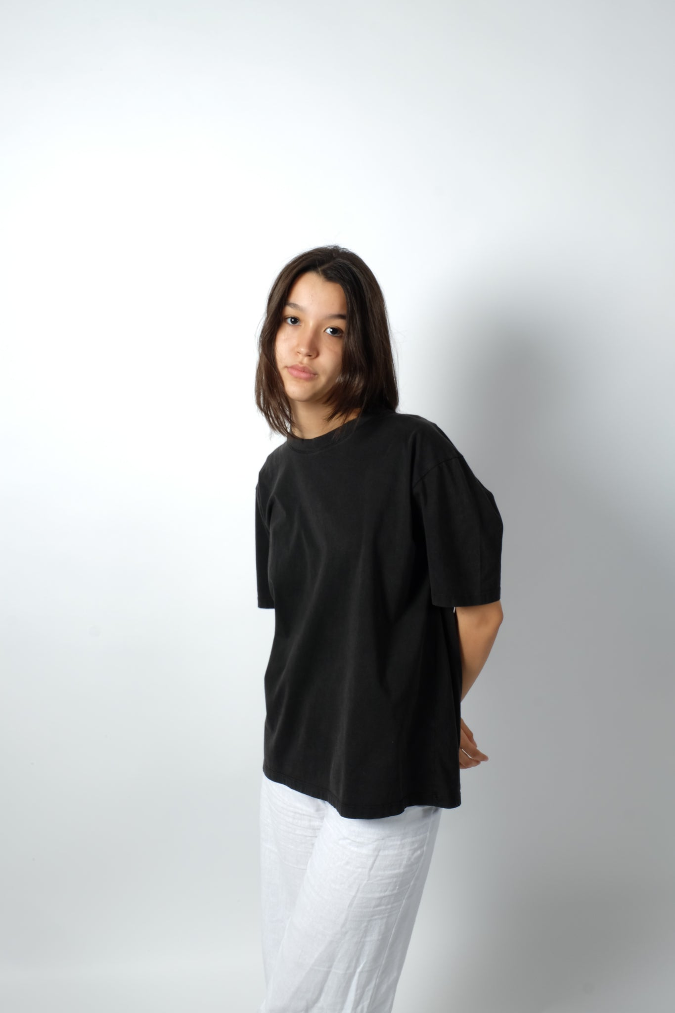 OVERSIZED WASHED COTTON SHIRT IN CHARCOAL