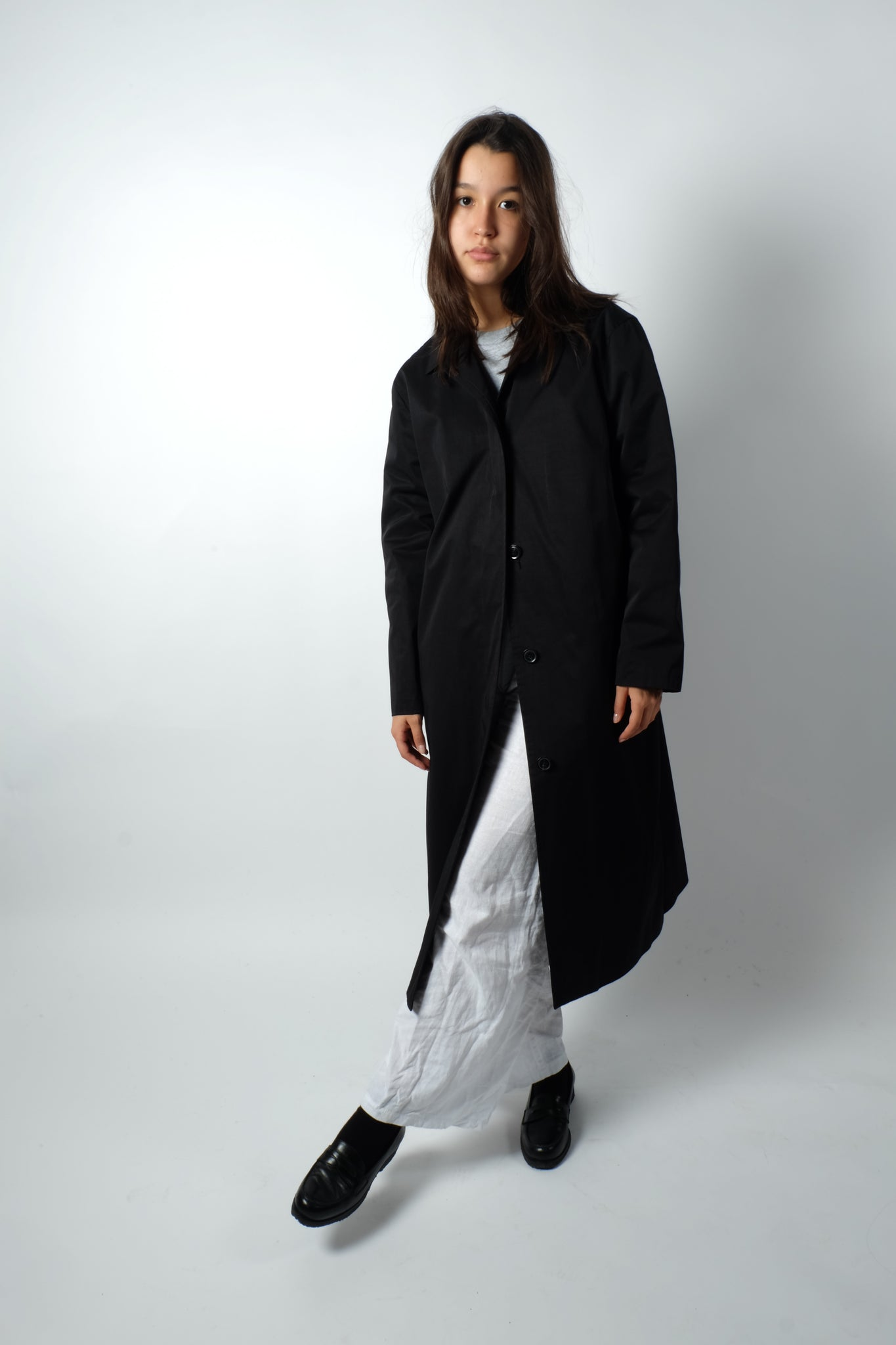 CLEAN MAXI COAT IN BLACK