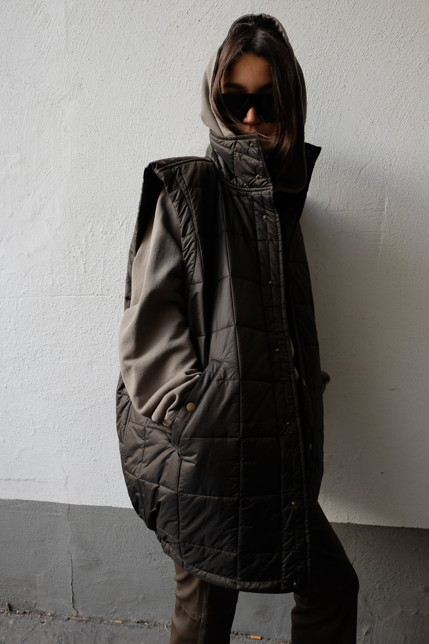 OVERSIZED PADDED VEST IN DARK GREEN