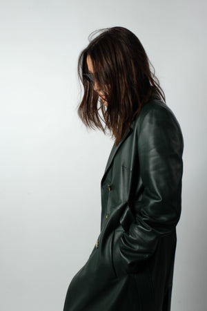 LEATHER COAT IN MOSS GREEN