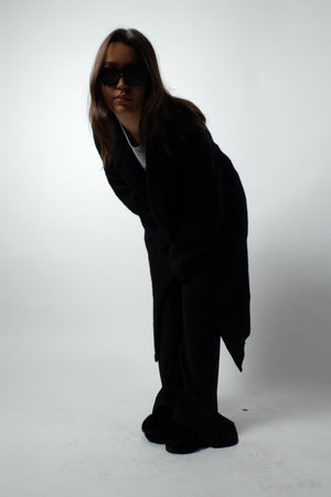 BOILED WOOL COAT IN BLACK BLUE