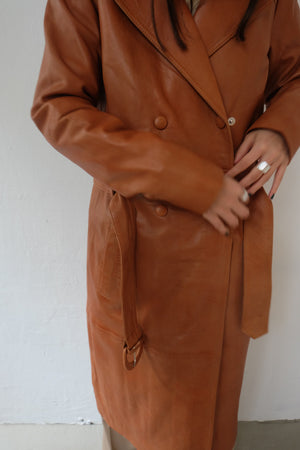 COGNAC BROWN LEATHER COAT - BEYOND STUDIOS
