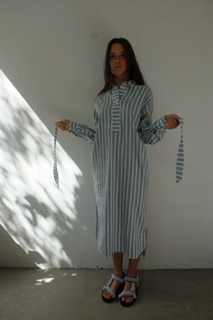 STONE BLUE STRIPE DRESS - BEYOND STUDIOS