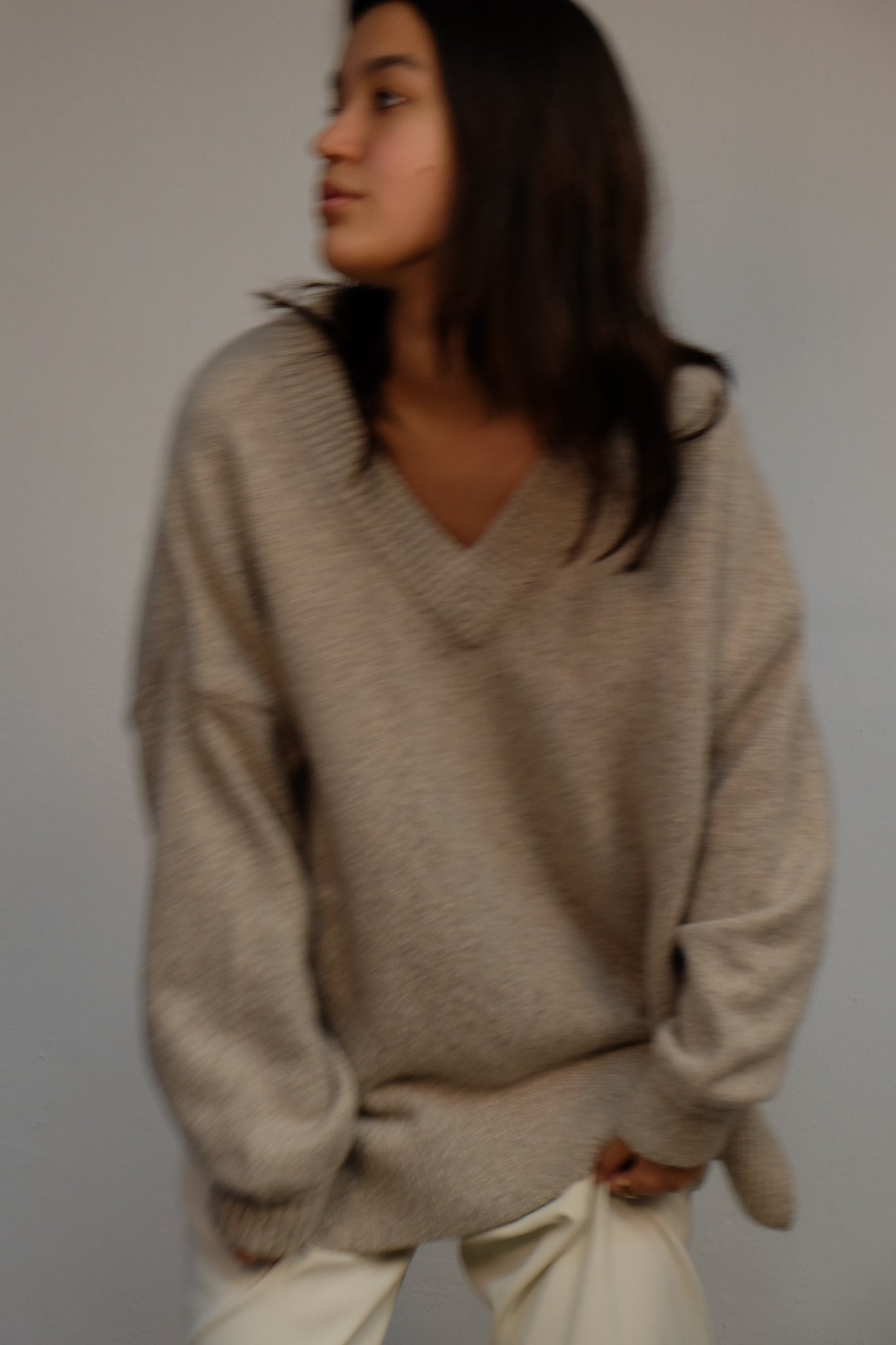 DEEP V NECK CASHMERE SWEATER IN BEIGE