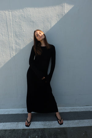 BLACK RIBBED KNIT MAXI DRESS BY LOULOU STUDIO - BEYOND STUDIOS