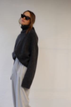 CELINE TURTLENECK KNIT IN DARK GREY MELANGE