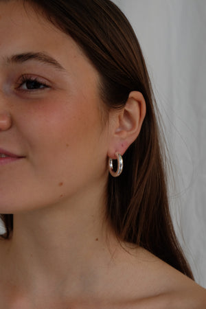 CHUNKY HOOPS IN SILVER - BEYOND STUDIOS