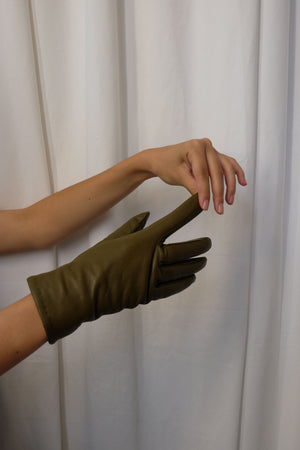 LINED LEATHER GLOVES IN OLIVE GREEN