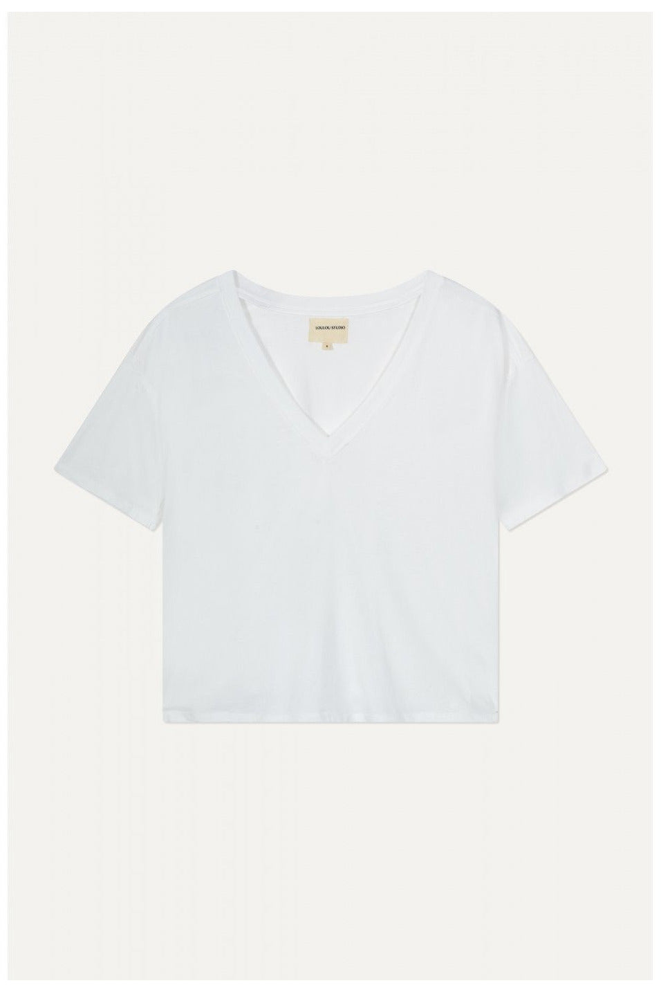 FAAA V NECK T-SHIRT WHITE BY LOULOU STUDIO - BEYOND STUDIOS