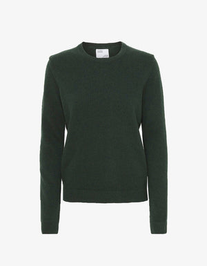 MERINO WOOL CREW IN HUNTER GREEN