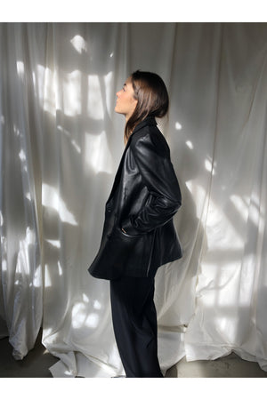 BLACK LEATHER BLAZER - BEYOND STUDIOS