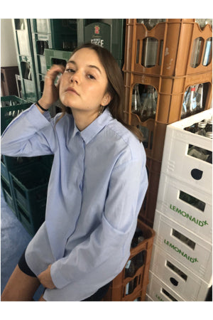 OVERSIZED OXFORD SHIRT IN CORNFLOWER BLUE - BEYOND STUDIOS