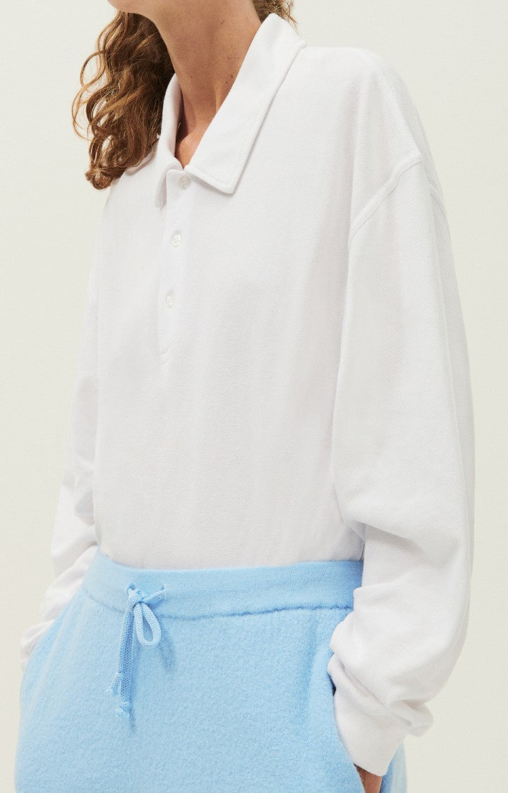 UNISEX LONGSLEEVE POLO SWEATER IN WHITE