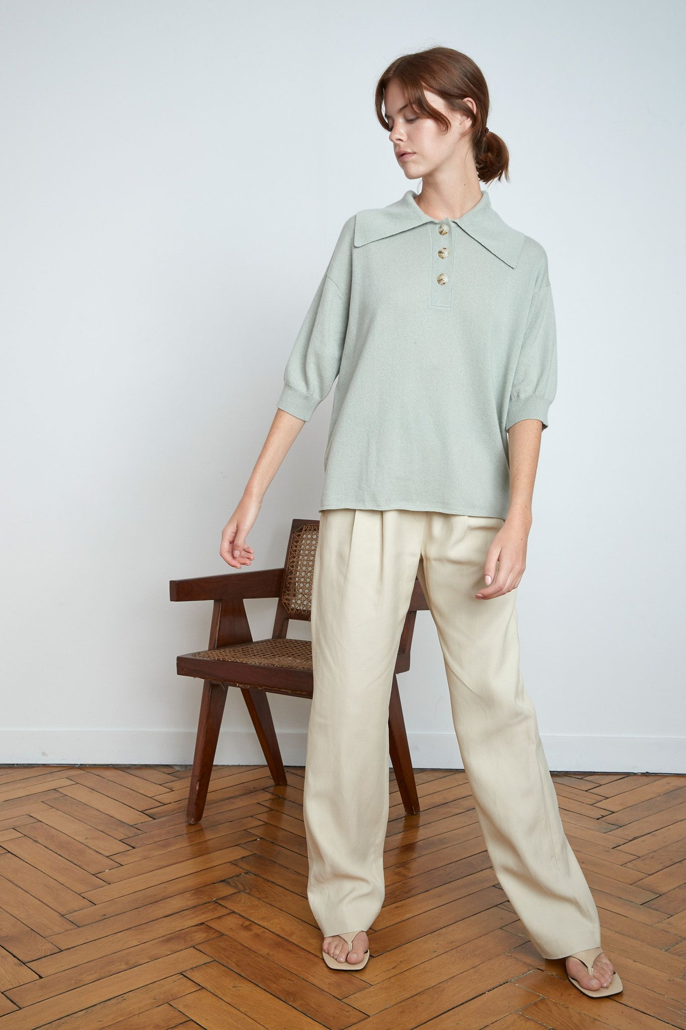 SAZILEY CASHMERE POLO BY LOULOU STUDIO IN ALMOND
