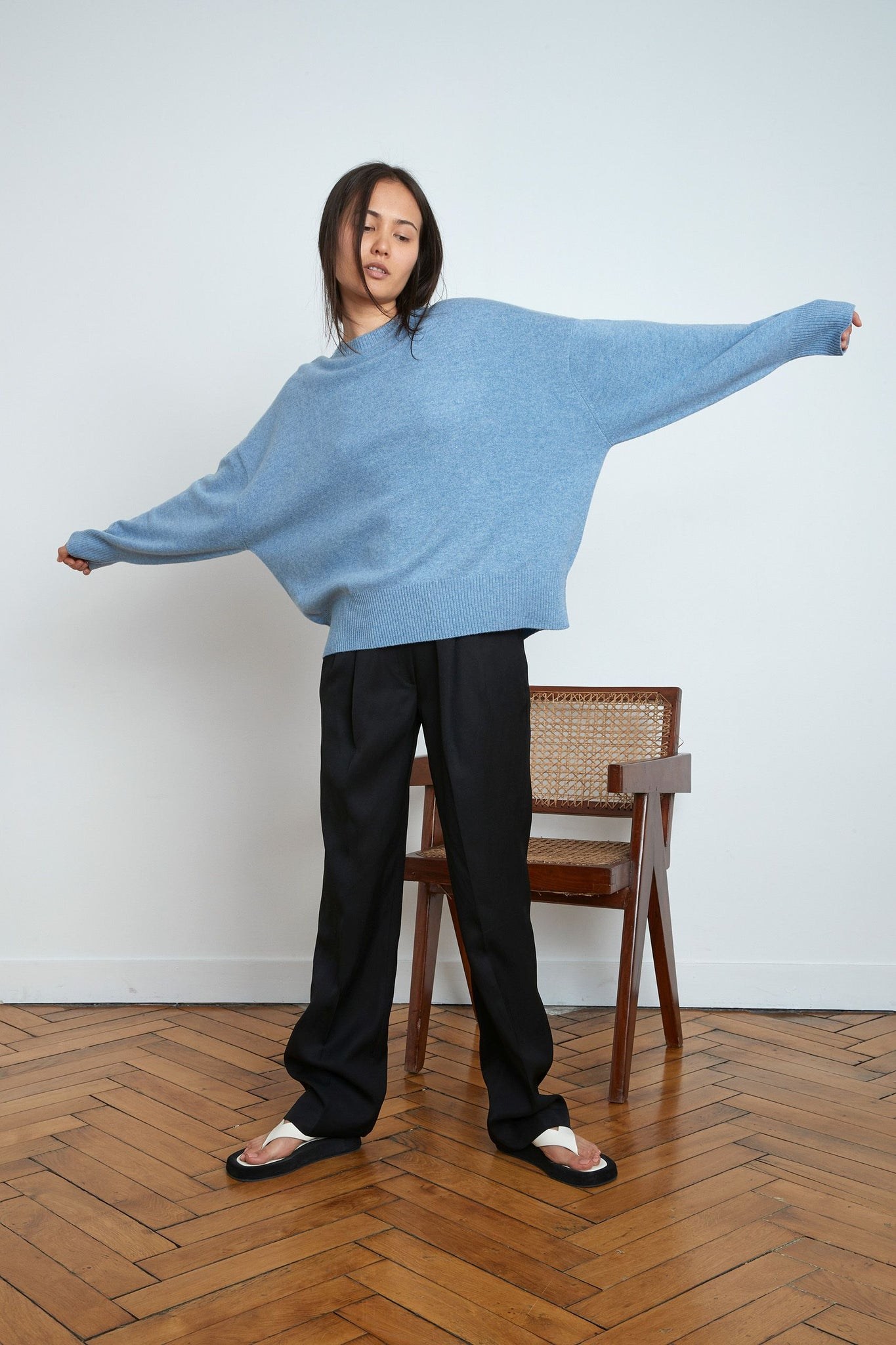 ANAA CASHMERE SWEATER BY LOULOU STUDIO IN BLUE MELANGE