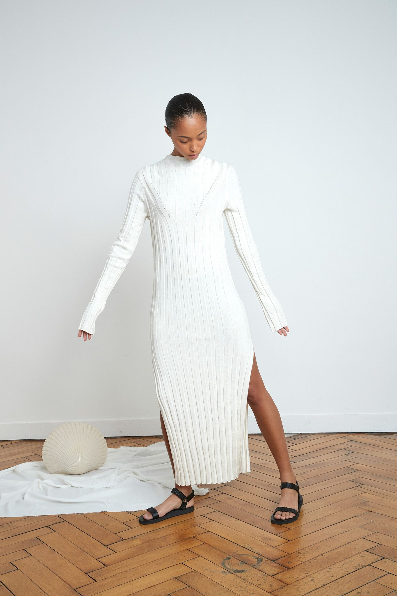 GAYA DRESS BY LOULOU STUDIO IN IVORY