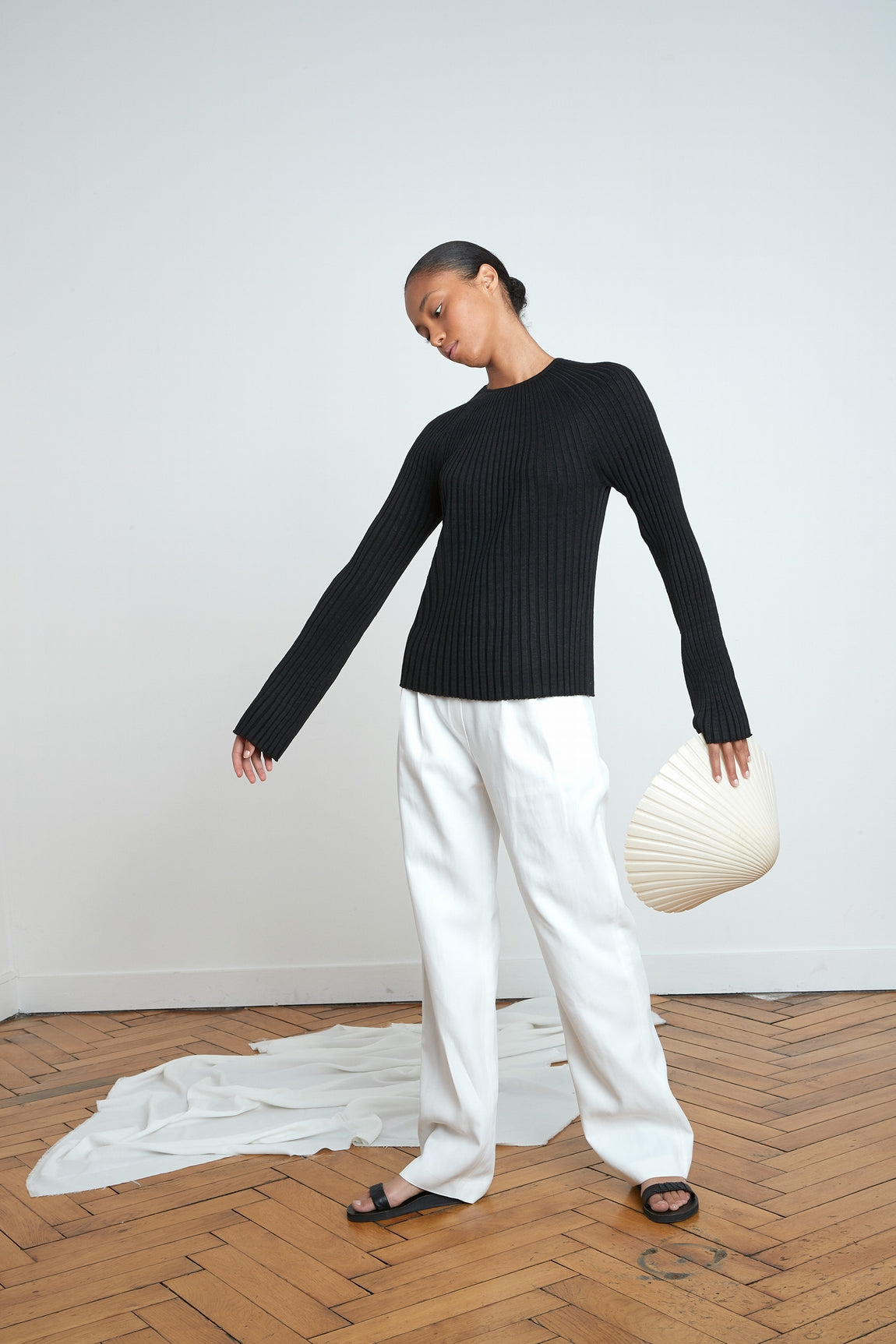 HAIRAN KNITTED TOP BY LOULOU STUDIO IN BLACK
