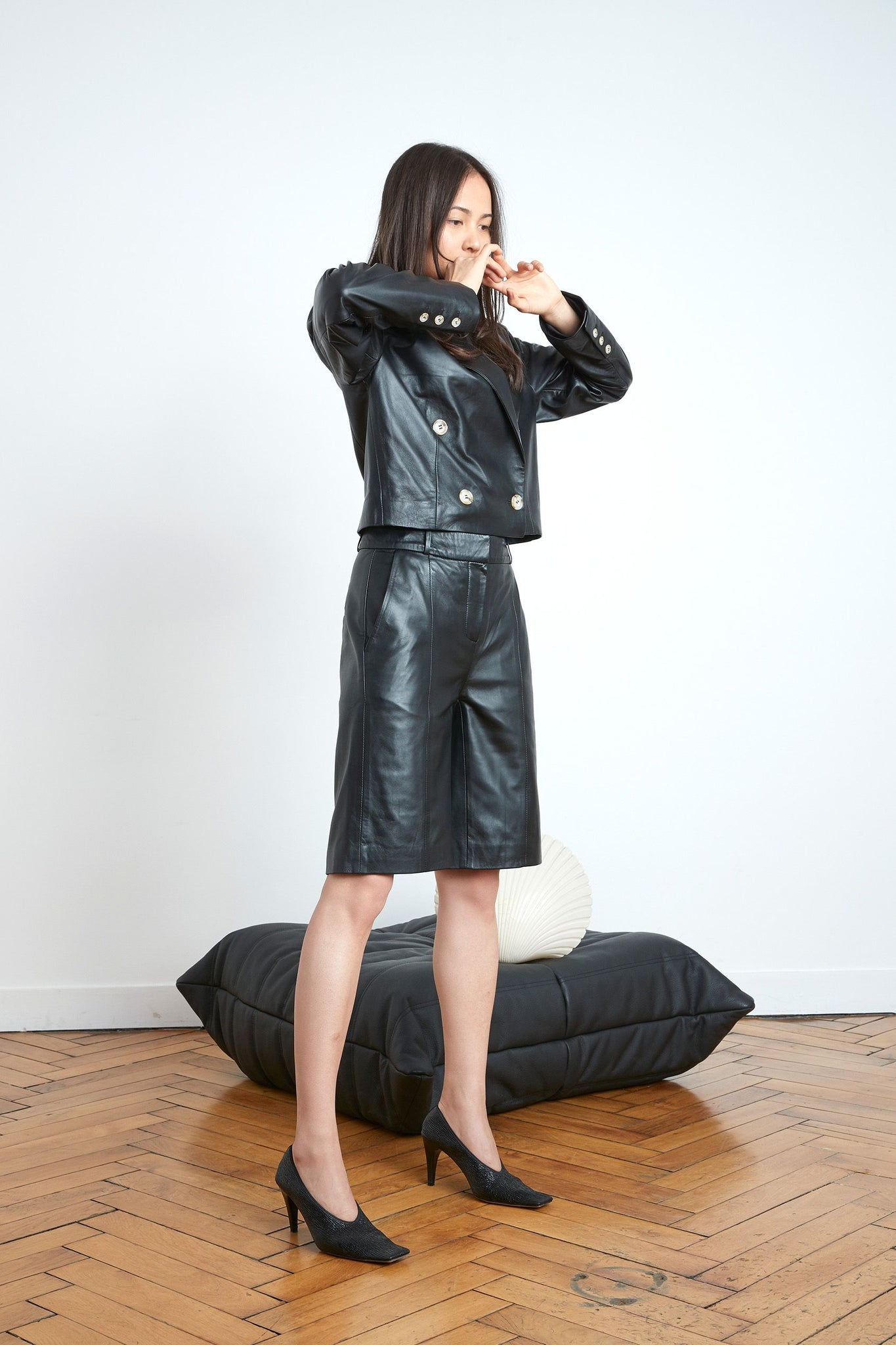 KILTAN LEATHER BERMUDA BY LOULOU STUDIO IN BLACK