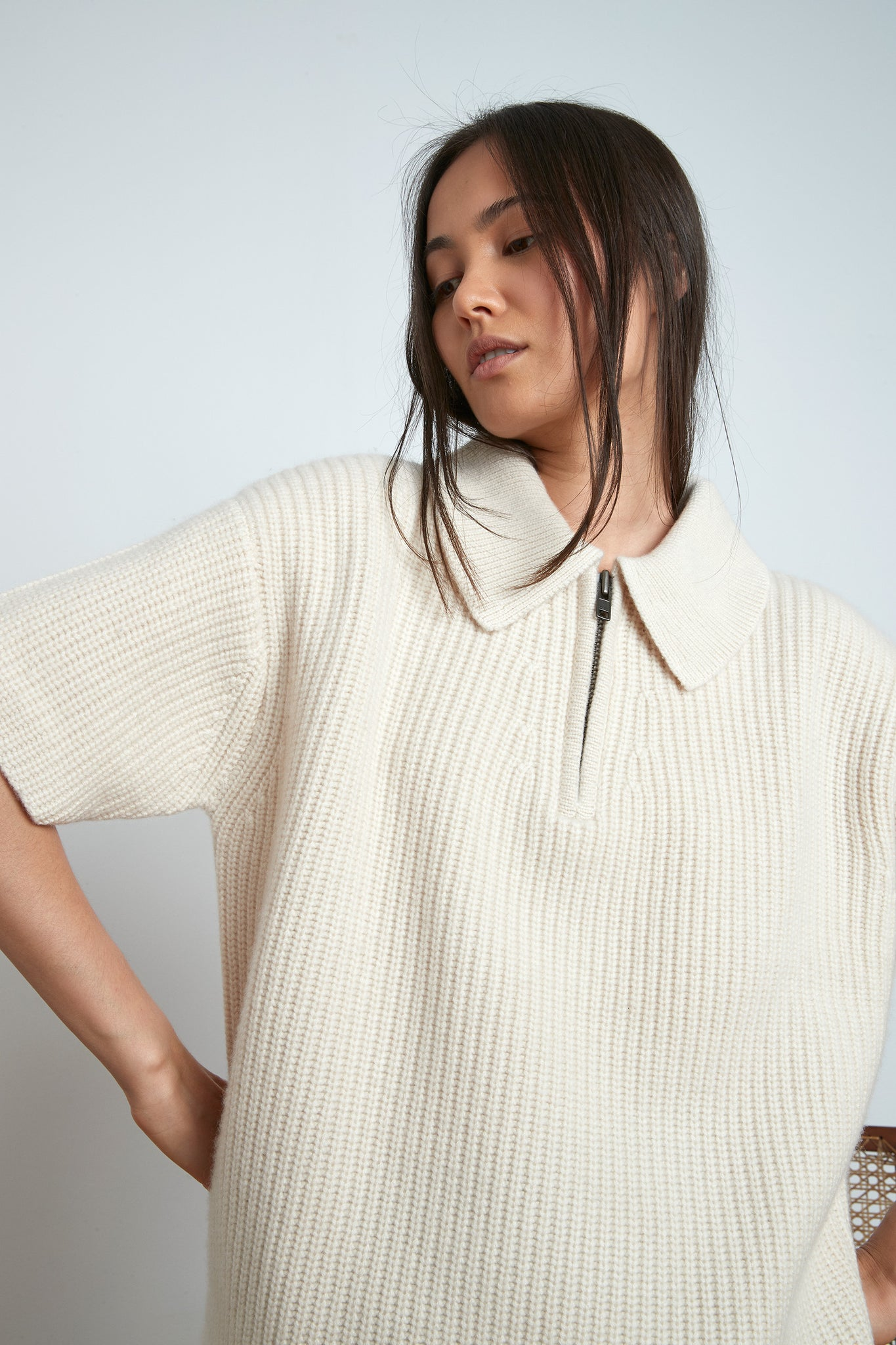 RUSINGA CASHMERE POLO BY LOULOU STUDIO IN IVORY