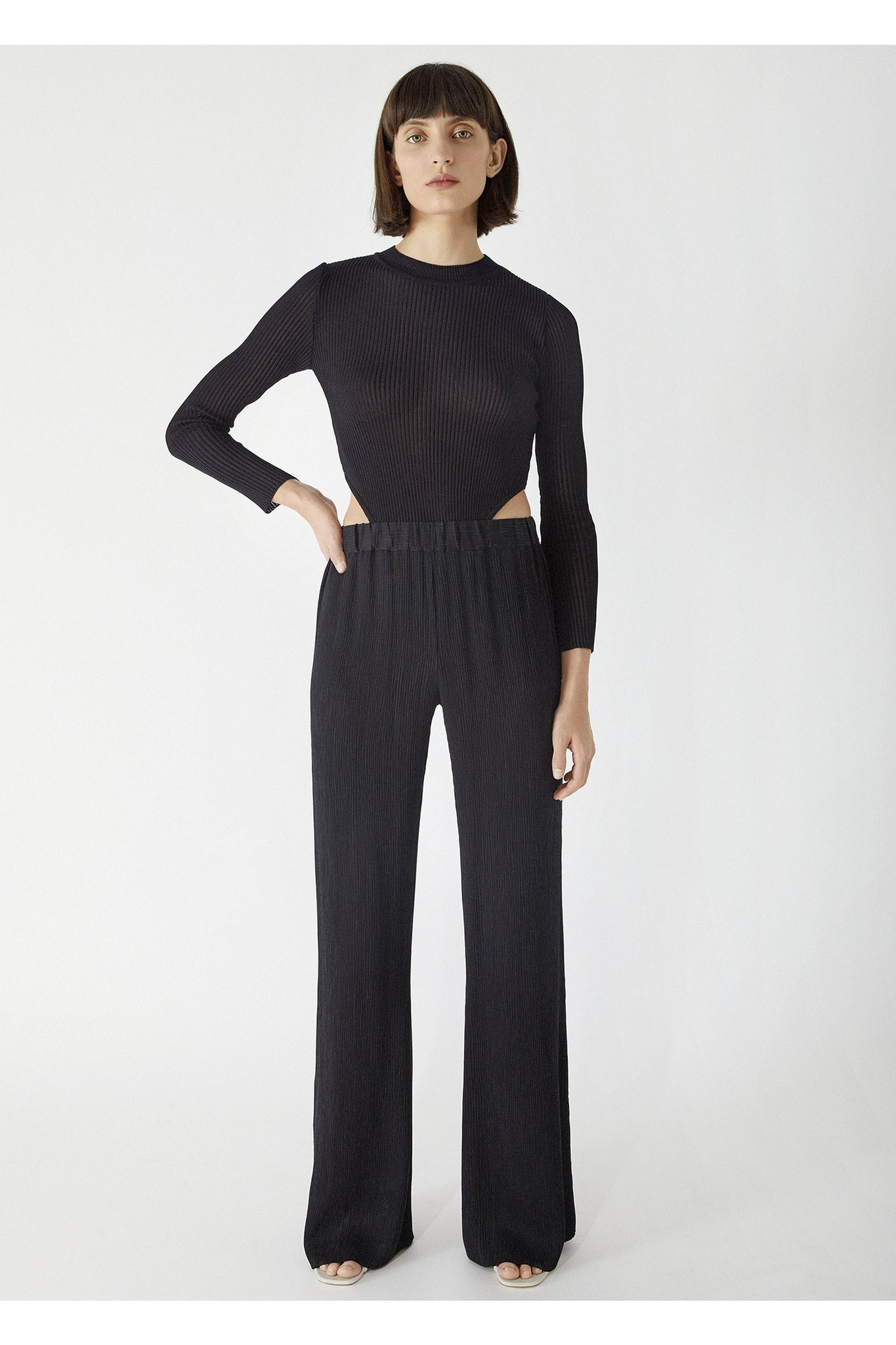 MARIETTA PLEATED CUPRO FLARED PANTS BLACK BY AERON - BEYOND STUDIOS