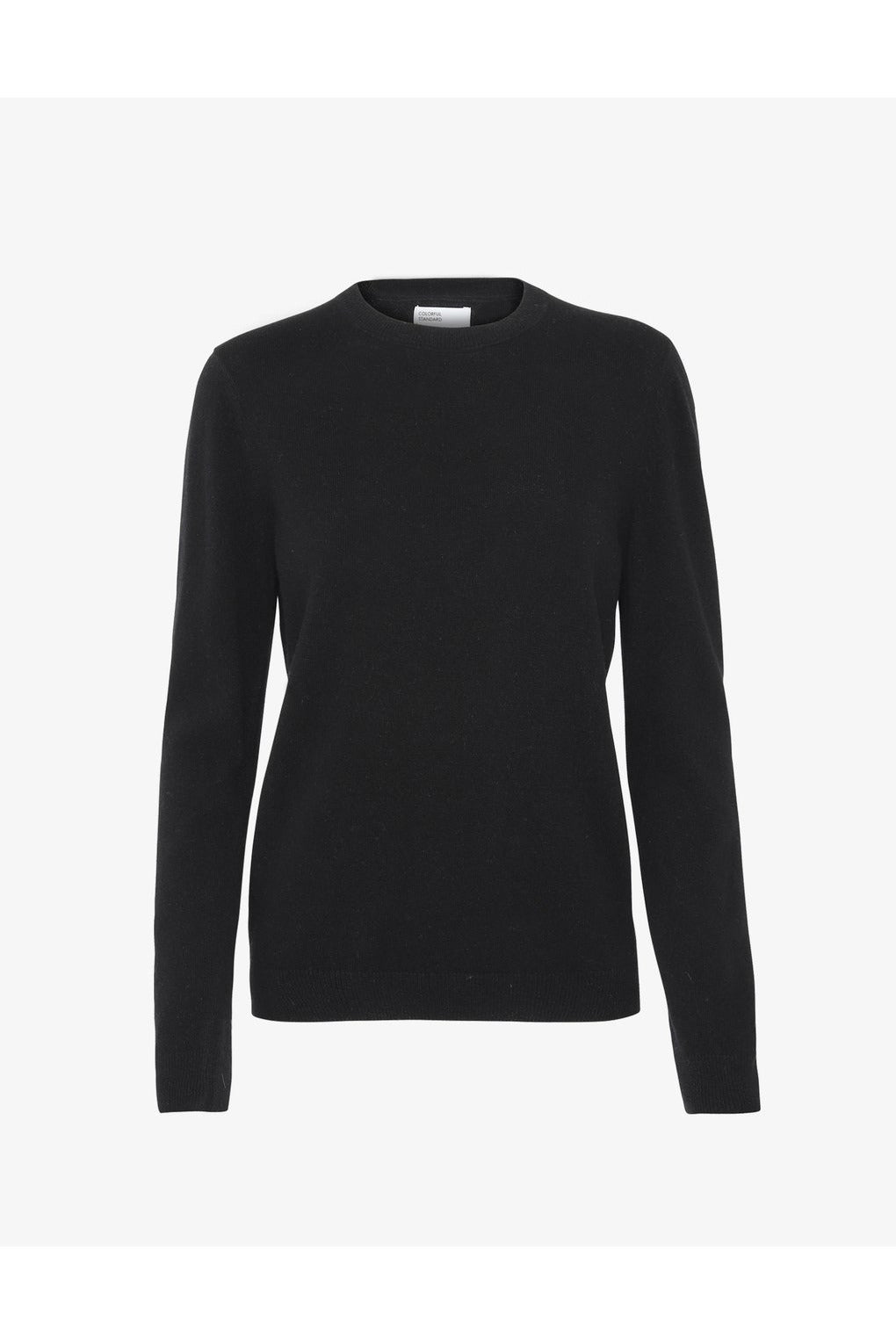 WOMEN LIGHT MERINO WOOL CREW DEEP BLACK - BEYOND STUDIOS