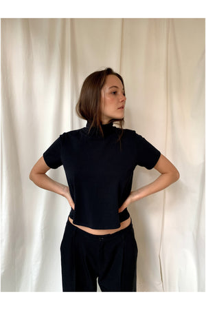 BLACK CROPPED MOCK TEE BY THE SEPT - BEYOND STUDIOS