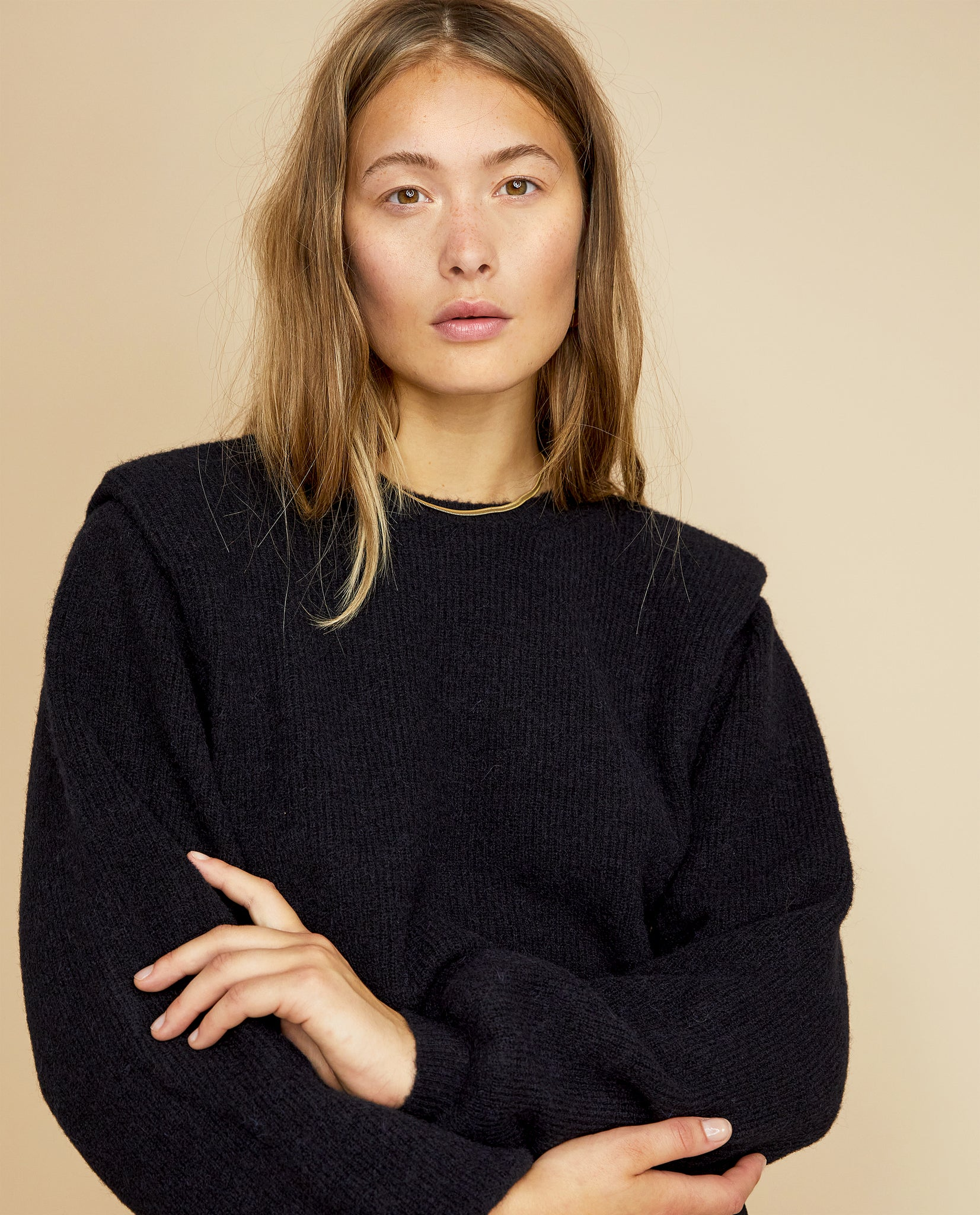 CAMILLE SHOULDER PADDED PULLOVER IN BLACK BY LES COYOTES DE PARIS