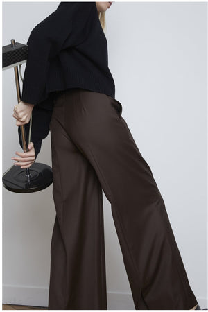 RAPA WIDE PANTS BROWN BY LOULOU STUDIO - BEYOND STUDIOS
