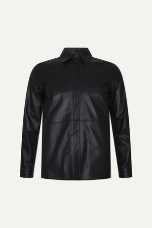 RIAU LEATHER OVERSHIRT BY LOULOU STUDIO