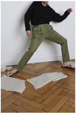 RURUTU CARROT PANTS KHAKI BY LOULOU STUDIO - BEYOND STUDIOS
