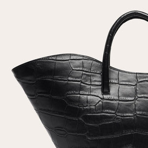 OPEN TULIP TOTE MEDIUM BLACK CROC BY LITTLE LIFFNER